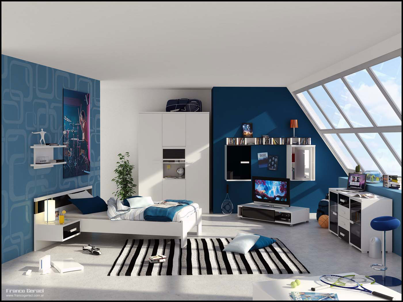a blue room with outside views - Интерьер юношеской комнаты