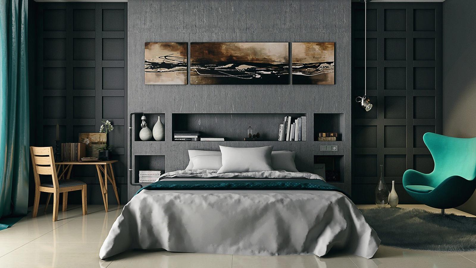 dizajn spalni v serykh tonakh osobennosti foto1 - Идеи интерьера спальни своими руками