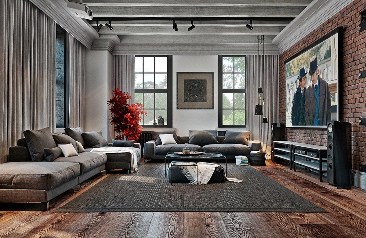gostinaja v stile interera loft - Ремонт в стиле лофт своими руками
