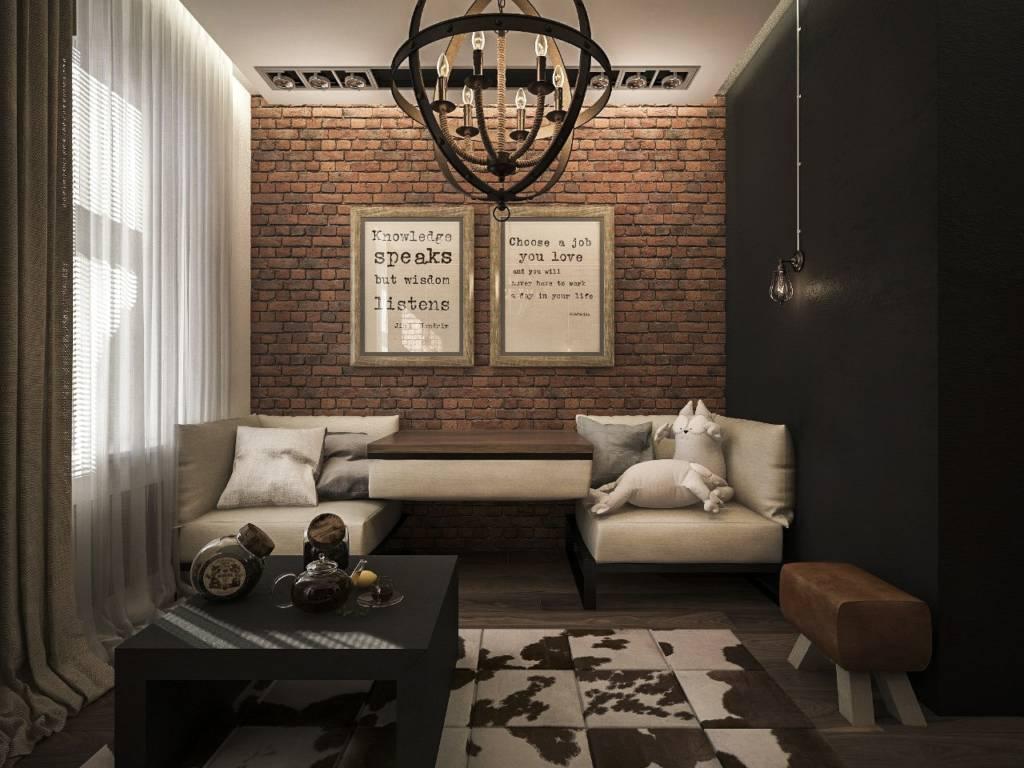 chernaya stena v loft interere - Интерьер в стиле лофт
