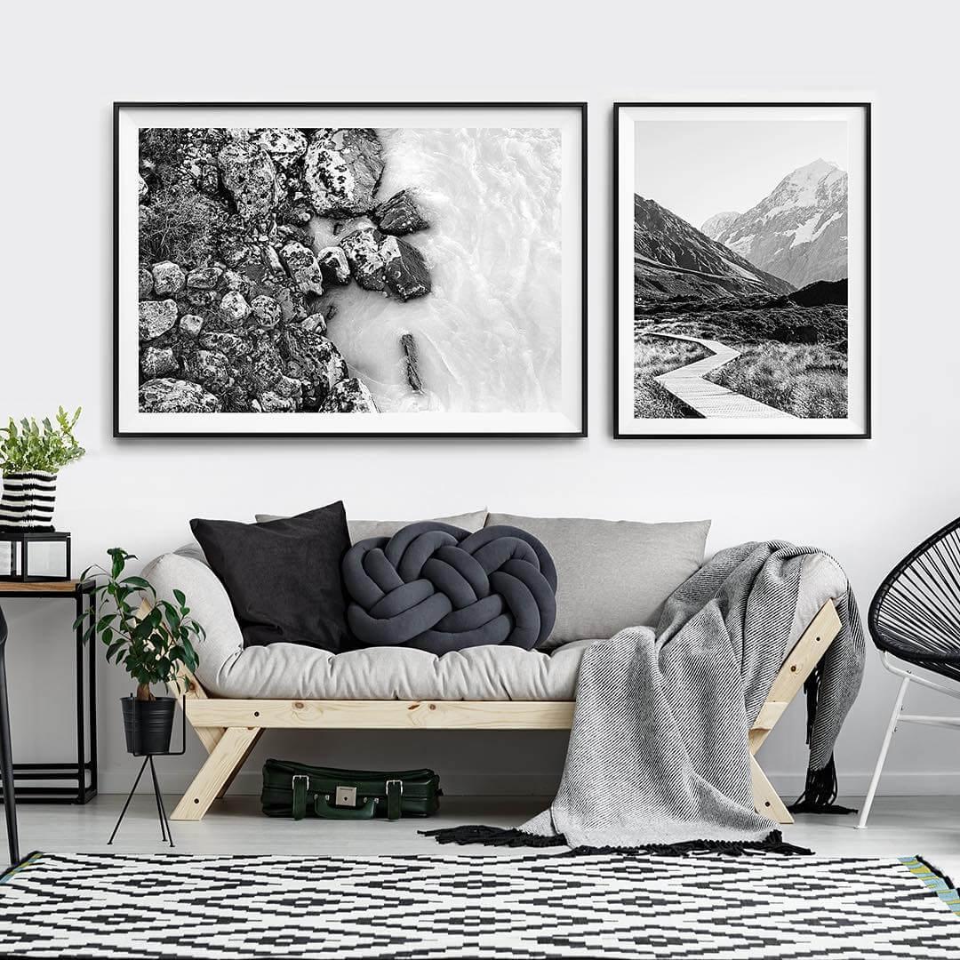 cherno belye foto dlya interera na fone odnotonnoy steny - Черно-белые картины или постеры для декора интерьера