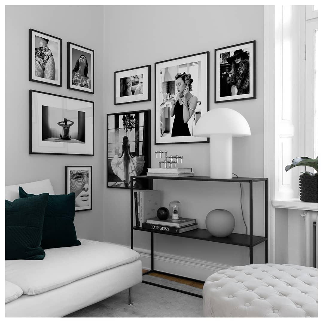 cherno belye postery v cherno belom iterere - Черно-белые картины или постеры для декора интерьера