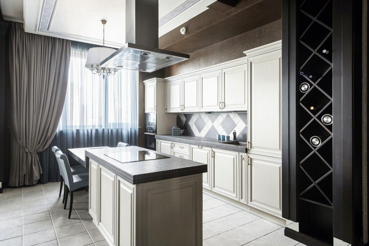 dizajn kuhni v stile art deko foto 14 - Интерьер кухни в белом цвете