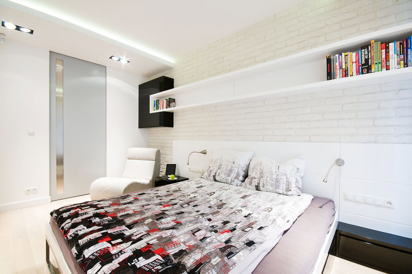 idei interera spalni s kirpichnoj stenoj 38 - Белая кирпичная стена в интерьере комнаты