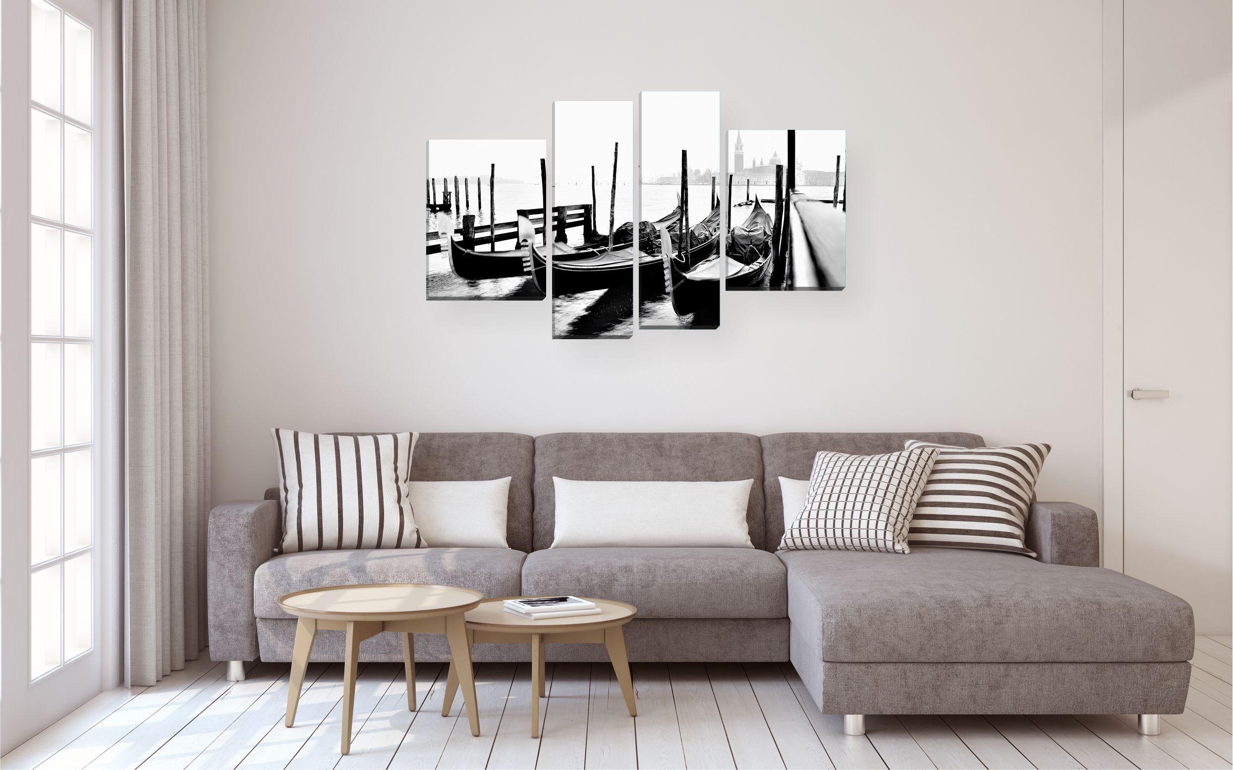 modulnaja kartina cherno belye foto lodki v interere gostinoj - Черно-белые картины или постеры для декора интерьера