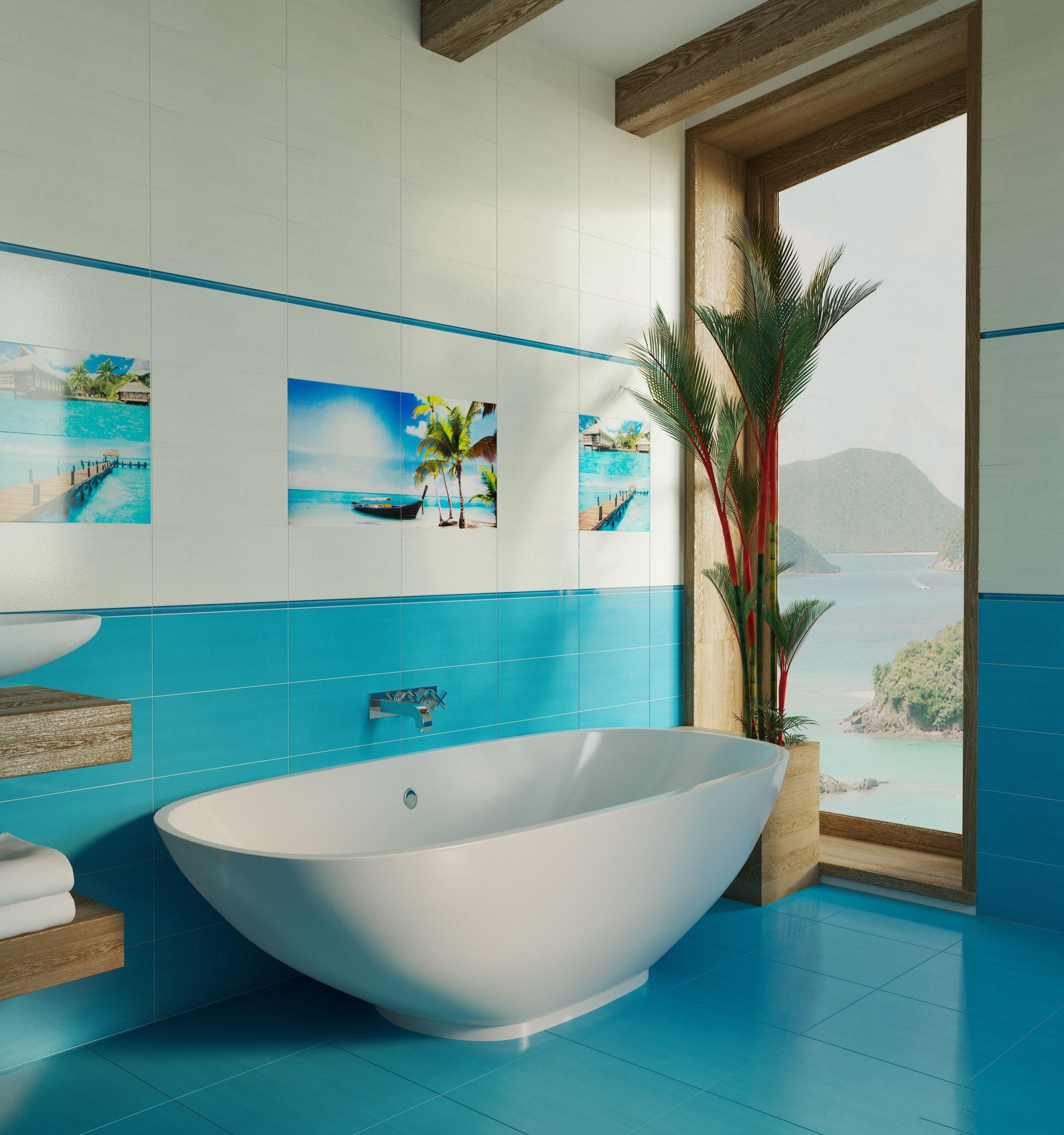 biryuzovaya plitka yarkie akcenty v interere 34 - Идеи и советы для ремонта в ванной комнате