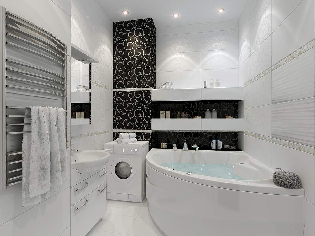 cherno belaja vannaja komnata - Идеи интерьера ванной комнаты