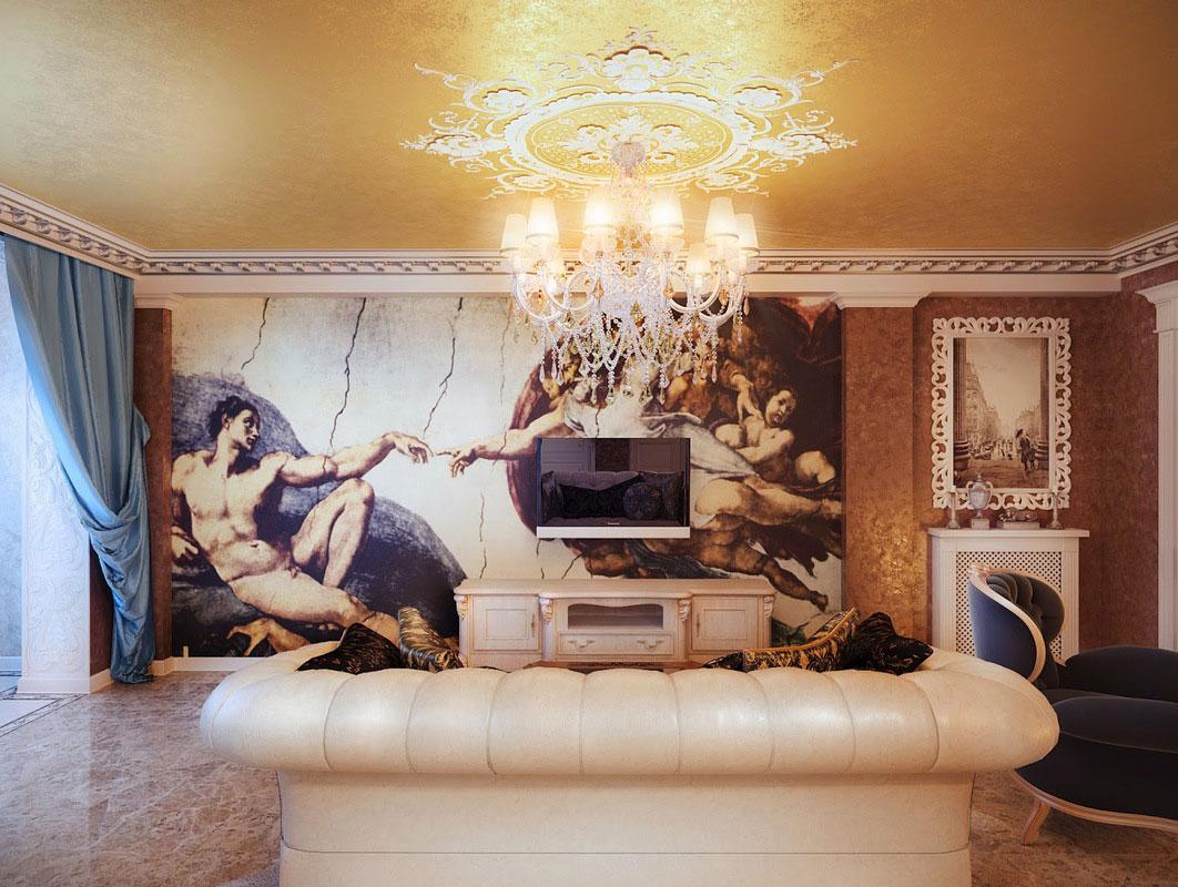 classic interior design photos - Фотообои для гостиной – старо или модно?