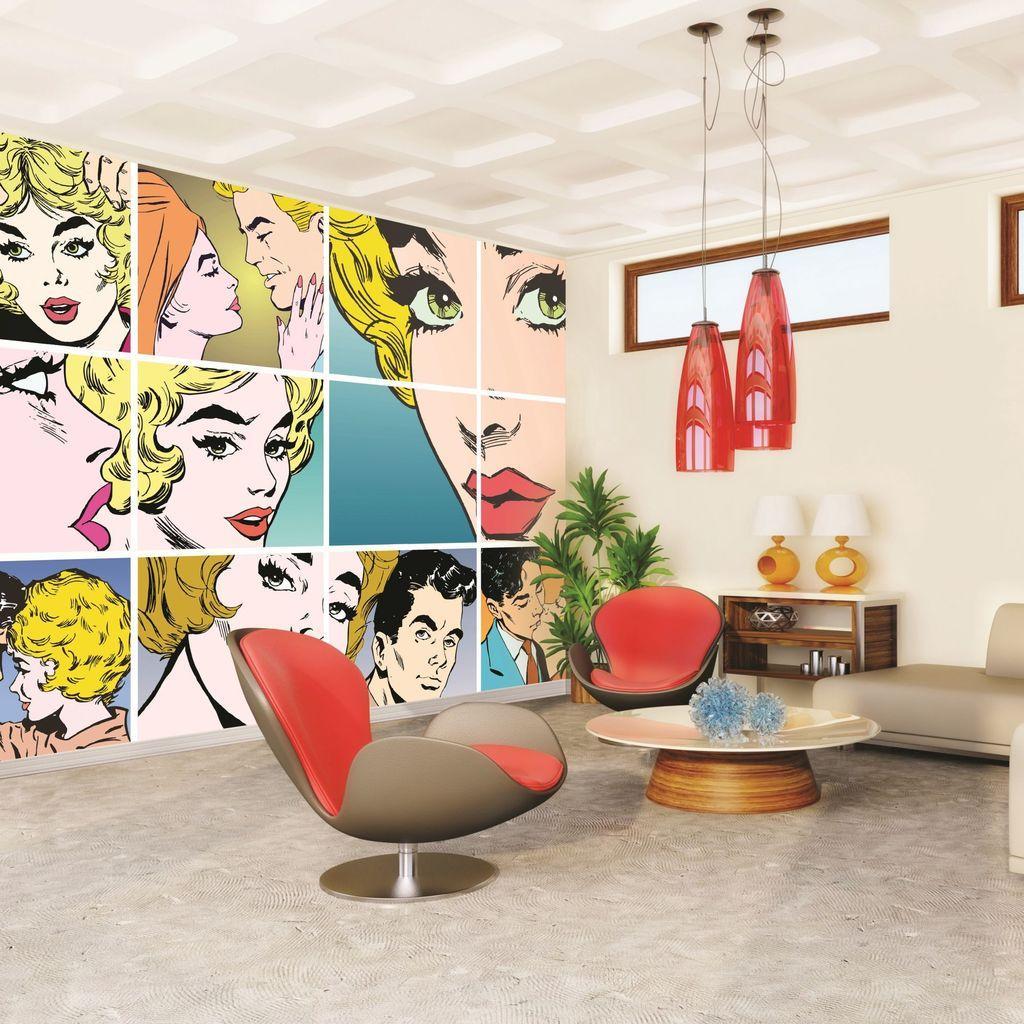 gostinaya v stile pop art - Фотообои для гостиной – старо или модно?
