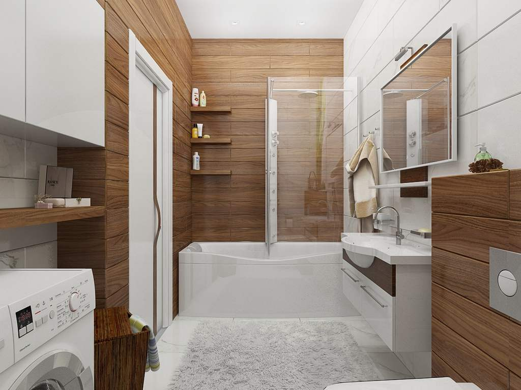 imitaciya dereva v vannoj - Идеи интерьера ванной комнаты