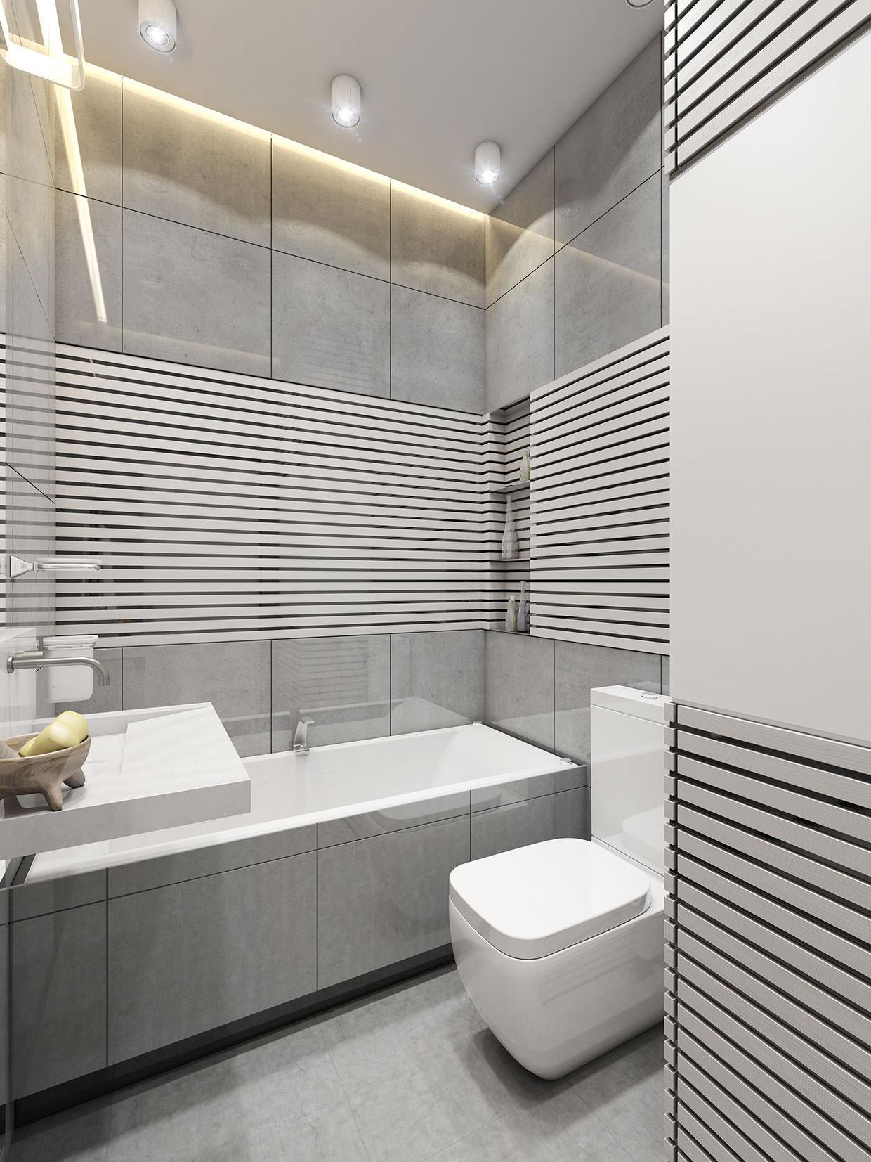 seraya plitka v vannoj razmery cvetovye ottenki i idei dizajna 7 - Идеи для ремонта в маленькой ванной