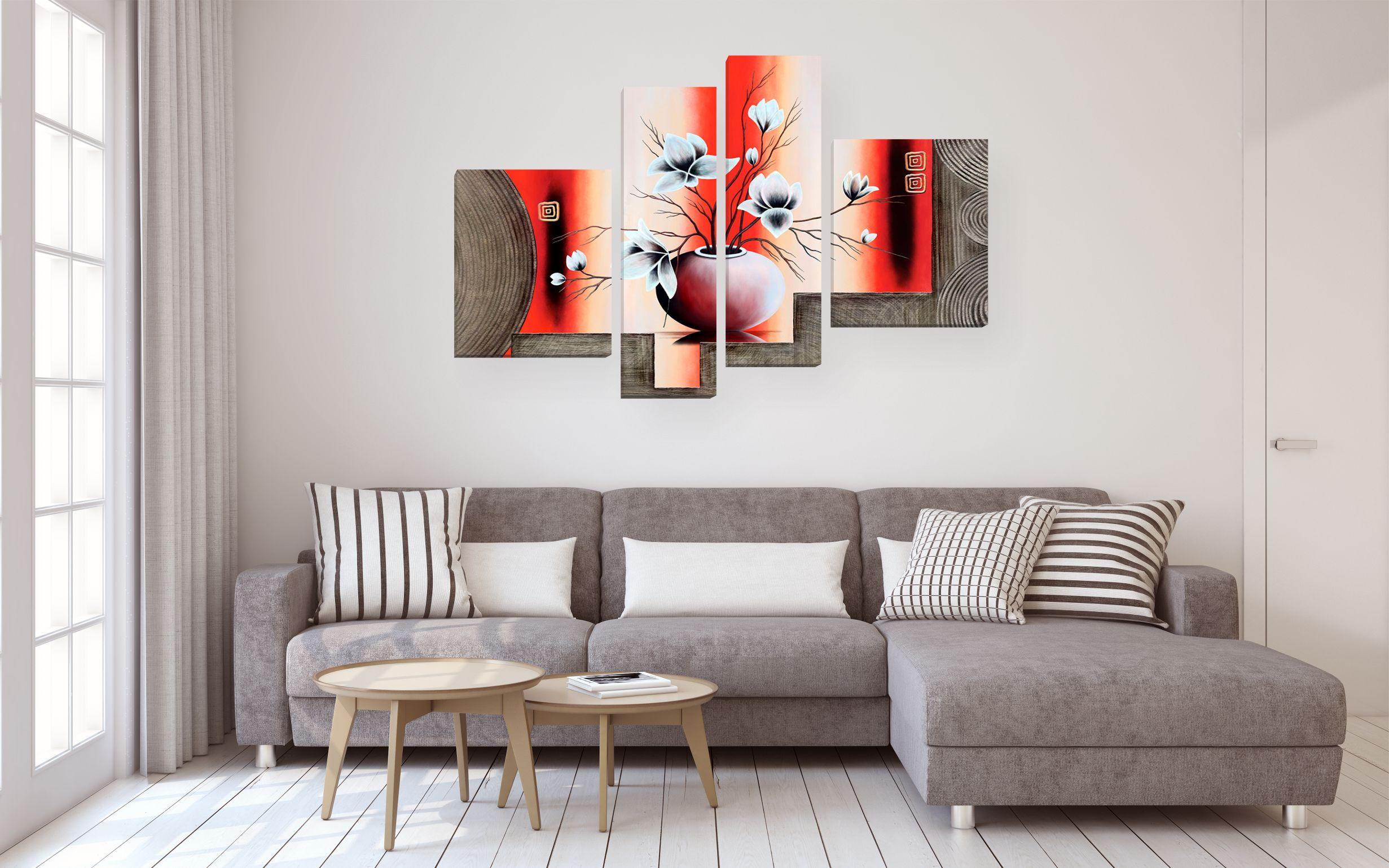 modulnaja kartina abstrakcija belye cvety v vaze foto v interere gostinoj nad divanom - Как улучшить интерьер квартиры